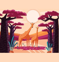 Natural savannah landscape with giraffes vector