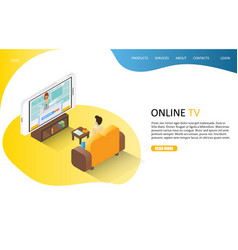 online tv landing page website template vector image