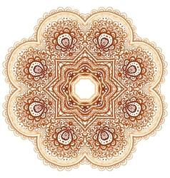 Ornate vintage beige doodle circle pattern vector