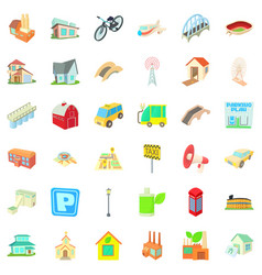 parking in city icons set cartoon style vector image