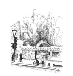 Pencil sketch of city scene vector