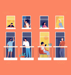 People on balcony modern apartment building vector