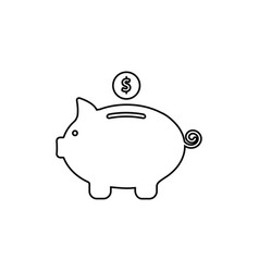 Piggy bank white icons vector