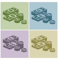 Pile of money stack banknotes vector
