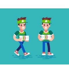 Pizza courier characters in flat design vector