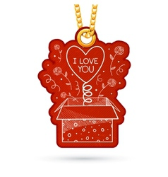 Present box with surpise Label tag hanging on vector image