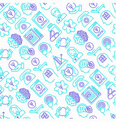 Psychologist seamless pattern with thin line icons vector
