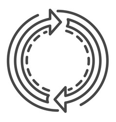 recycle double arrow icon outline style vector image