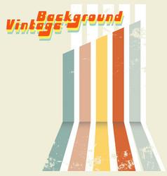 Retro design background with colored stripes vector