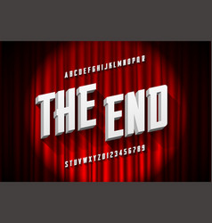 Retro style condensed font the end title vector