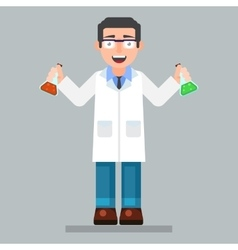scientist character wearing glasses and lab coat vector image
