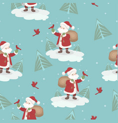 seamless pattern with santa claus and birds vector image