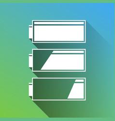 Set battery charge level indicators white icon vector
