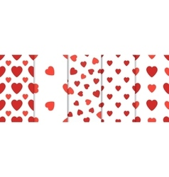 Set of 5 seamless pattern with hearts Valentines vector image