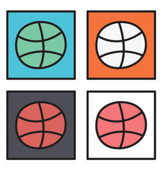 Set of unusual look dribbble social media icon vector