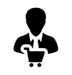 Shopper icon with male customer person profile vector