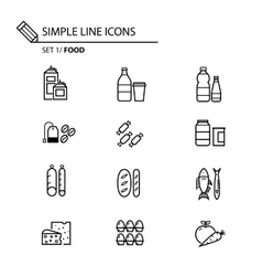 Simple line icons set 1 Food vector
