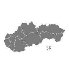 Slovakia districts map grey vector