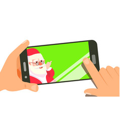 smart phone with cute santa merry vector image
