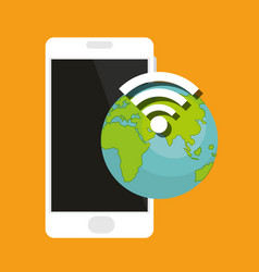 smartphone device with earth and wifi signal vector image