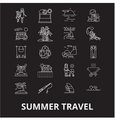 summer travel editable line icons set on vector image
