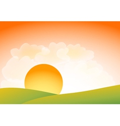Sunset over hills vector