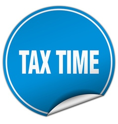 tax time round blue sticker isolated on white vector image