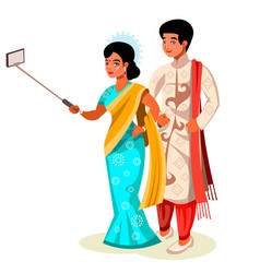 Time to take selfie indian couple vector
