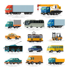 urban city cars and vehicles transport vector image