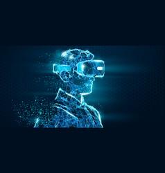 vr polygonal man wearing virtual reality glasses vector image
