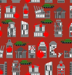 War seamless pattern Ruined city Tanks in town vector