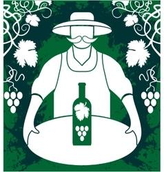 Winemaker with wine bottle vector image