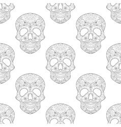 Zentangle stylized Skull for Halloween seamless vector image
