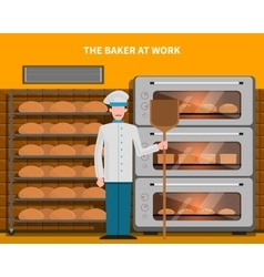 Baker at work concept vector image