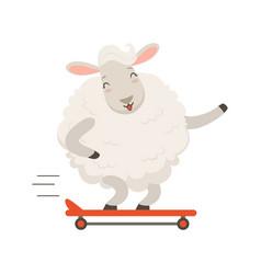 cute white sheep character riding a skateboard vector image