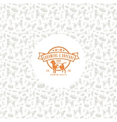 Pet shop label and frame with pattern vector image vector image