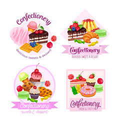 banner or label with confectionery and sweets vector image vector image
