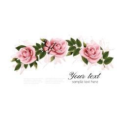 Flower frame with beauty pink roses vector image
