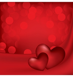 hearts on the red silk background vector image vector image