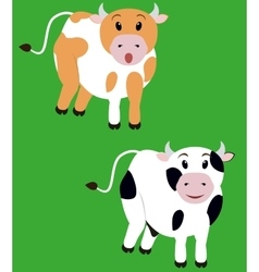 two cute cow isolated cartoon calf vector image vector image
