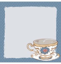 Elegant romantic card with porcelain tea cup vector