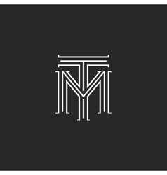 Monogram hipster initials tm logo letters vector