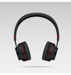 Realistic Black Headphones vector image