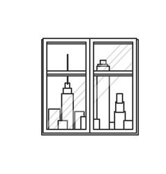 window urban building view outline vector image