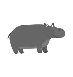 cute cartoon gray smiling hippo character vector image