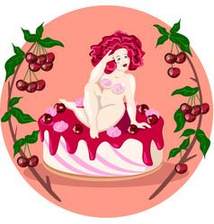 fat naked lady sitting on a cherry cake vector image