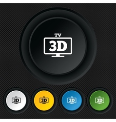 3D TV sign icon 3D Television set symbol vector