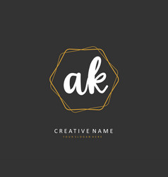 A k ak initial letter handwriting and signature vector