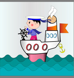 a small captain on a ship going to ocean vector image