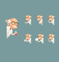 Adult scientist character old grandfather wise vector